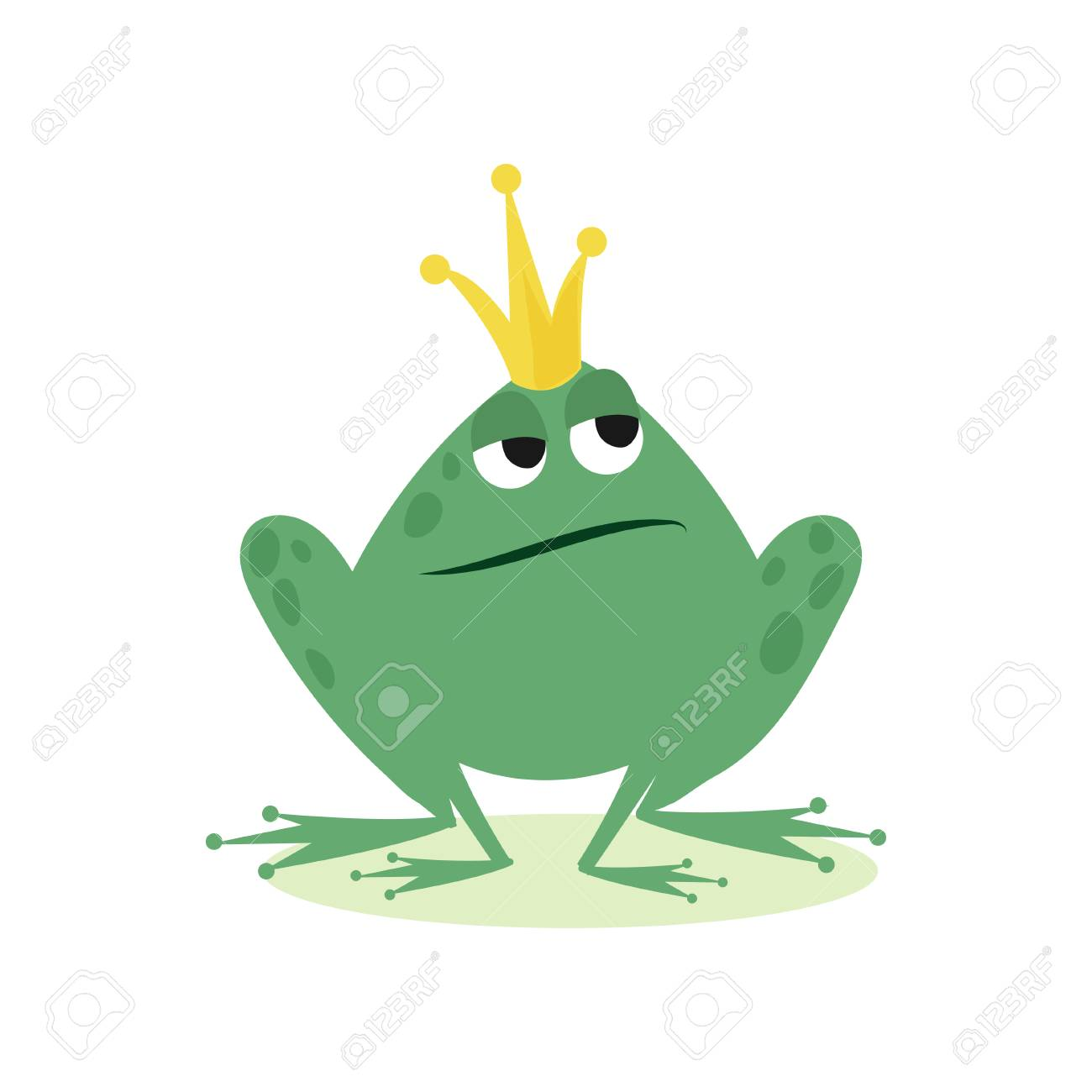 Prince frog in golden crown, fairy tale character cartoon vector Illustration - 94357874