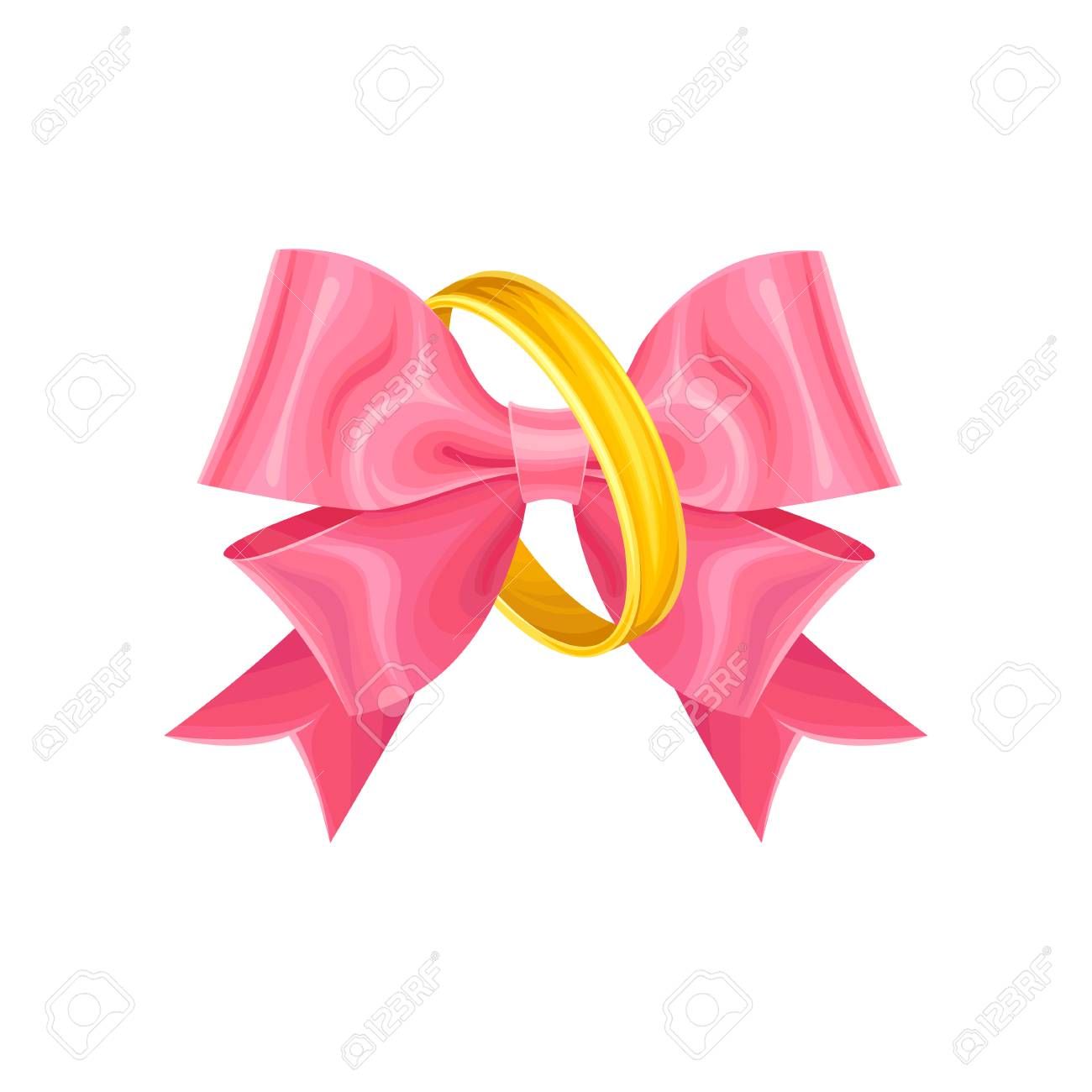 Beautiful Detailed Wedding Golden Rings With Pink Bow Inside ...