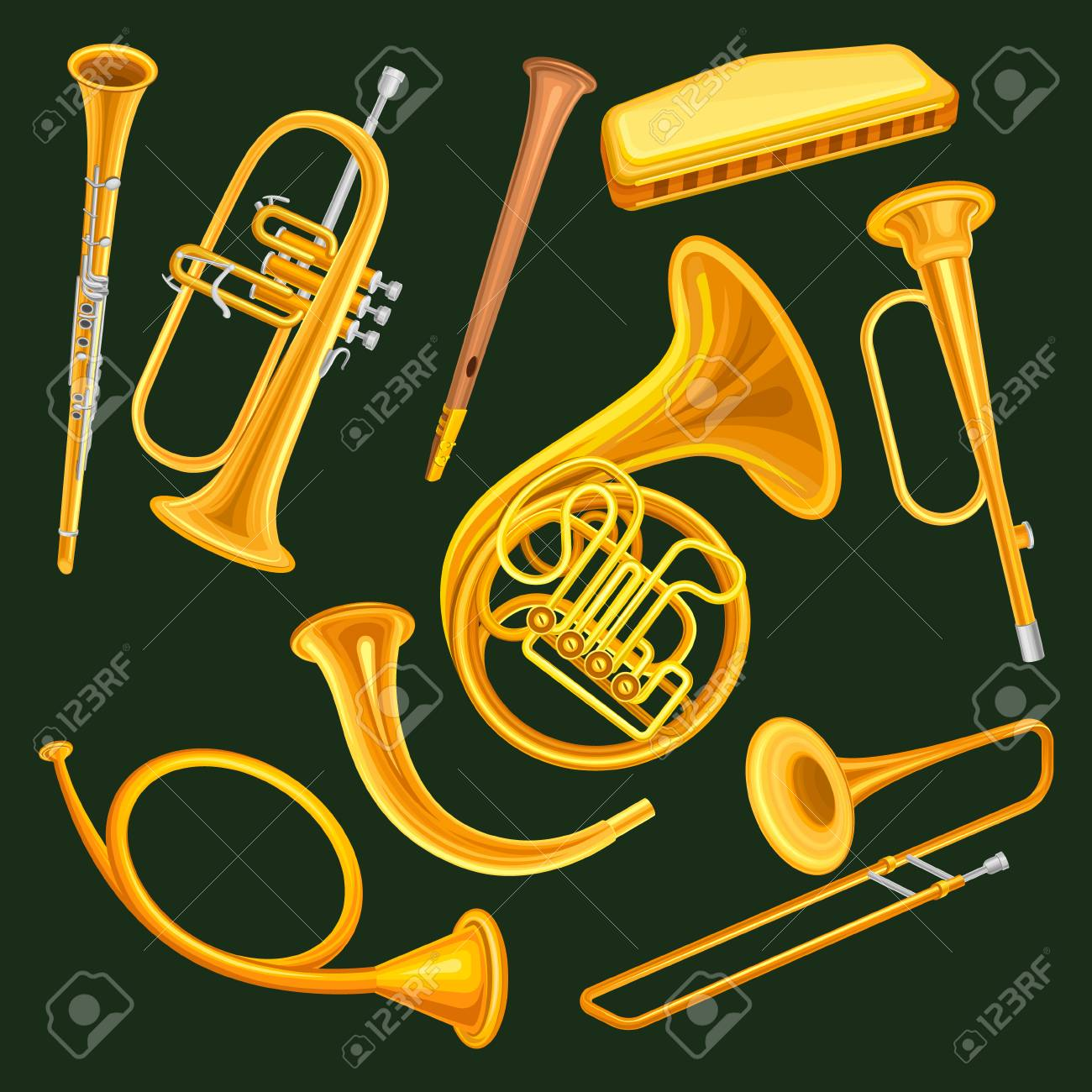 Collection of woodwind and brass musical instruments. Clarinet, trumpet, harmonica, wooden pipe sopilka , french horn, hunting horns, trompette, trombone. Isolated vector illustration in flat style. - 95409576