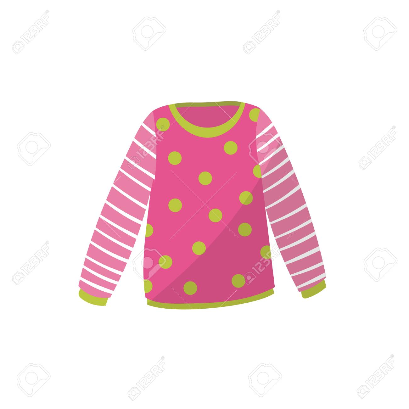 cc2064aed Pink Baby Sweater In Green Polka-dot. Cute Warm Pullover With ...