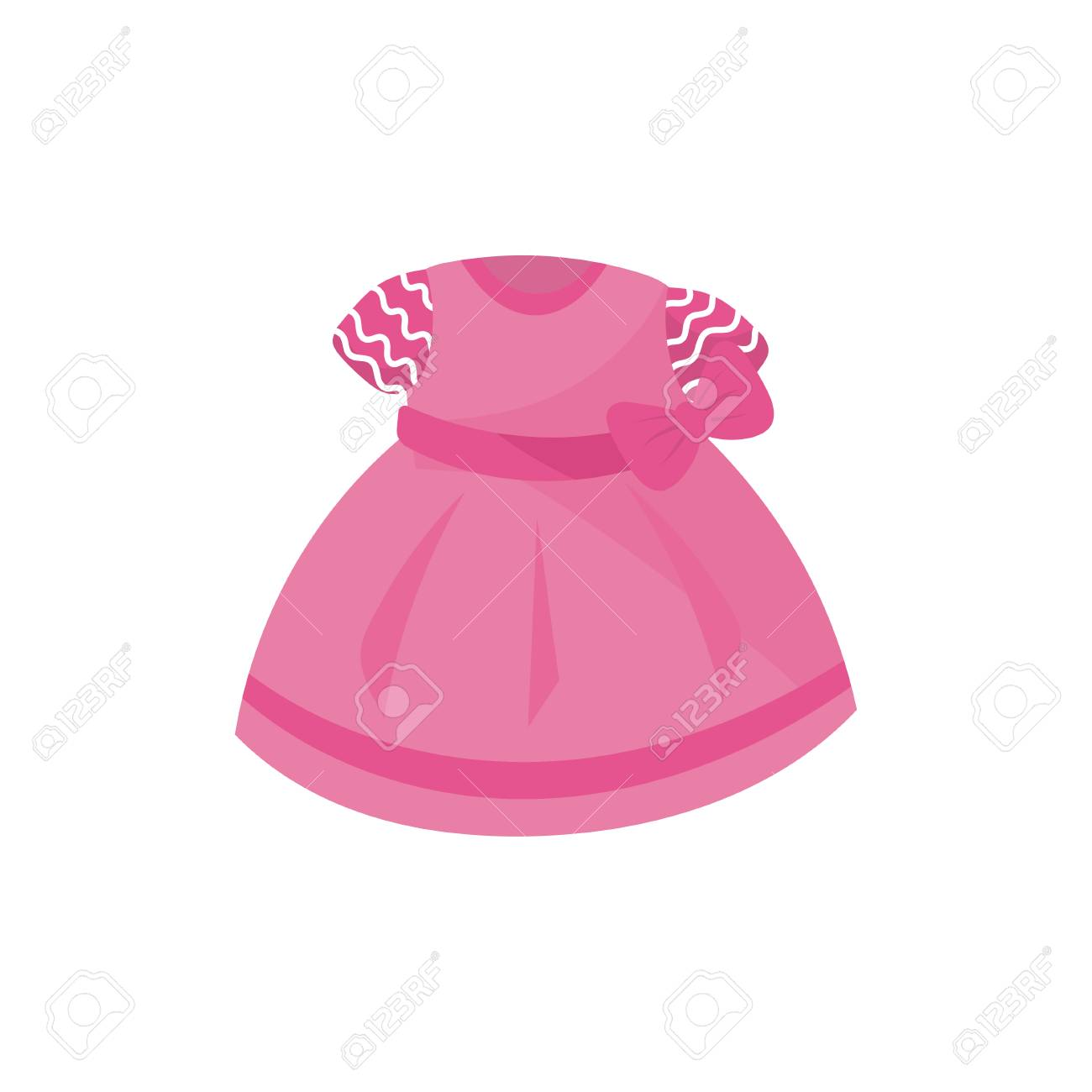e1f5f84d5 Icon of adorable pink dress with bow for little girl. Baby fashion. Apparel  for