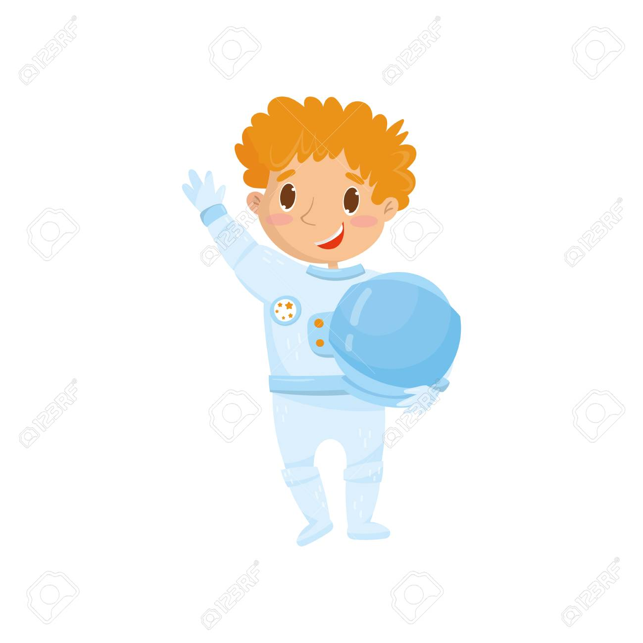 Cute red-haired teen boy wants to be cosmonaut in future. Cartoon child  character
