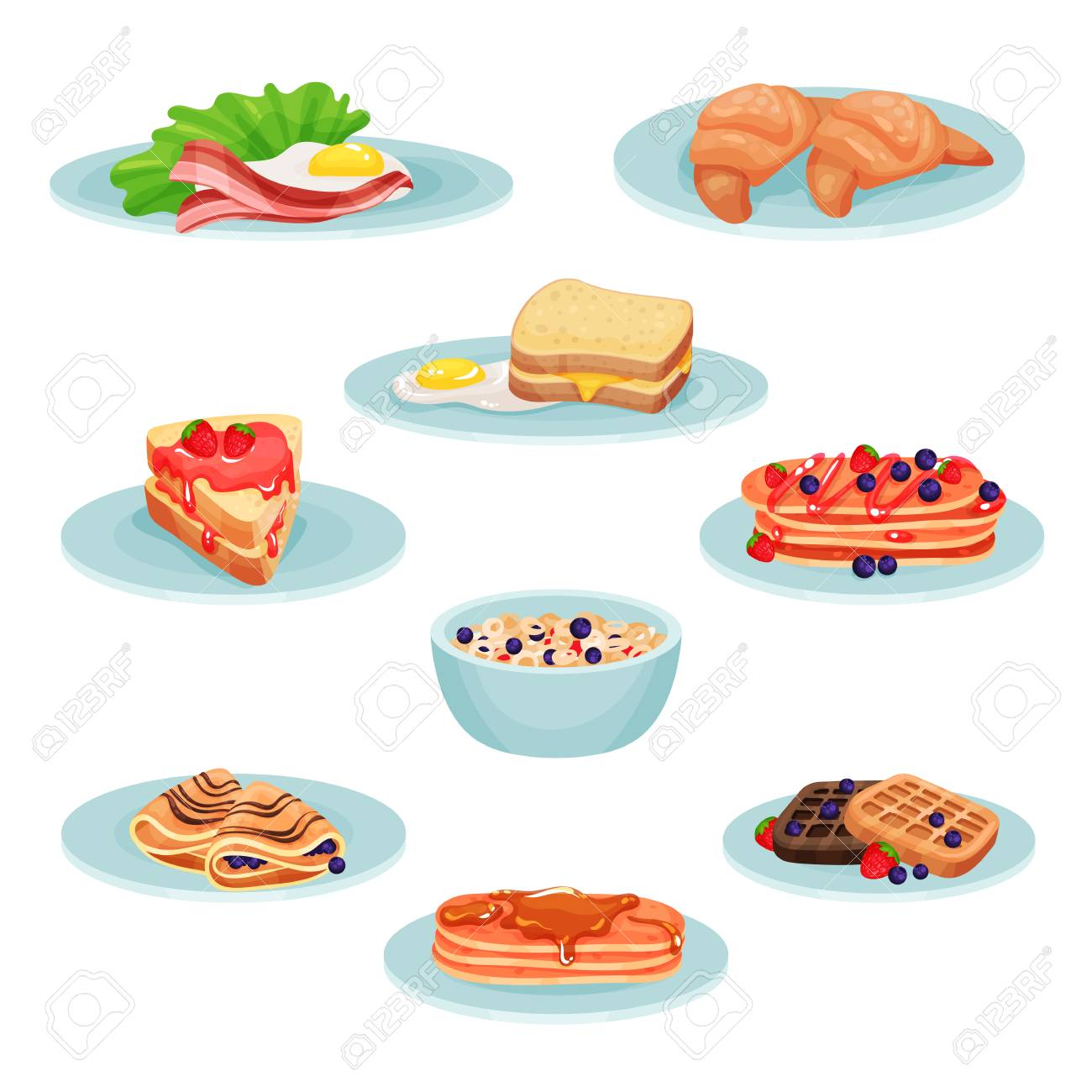 Breakfast menu food set, acon, fried eggs, croissant, sandwich, pancakes, muesli, wafers Illustration isolated on a white background. - 97590132