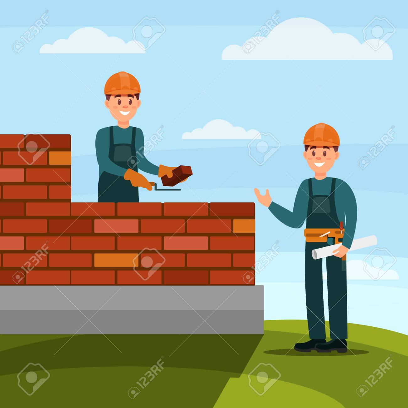 Construction worker bricklayer making a brickwork with trowel and cement mortar, foreman supervising his work on nature background flat vector illustration, web design - 97590137