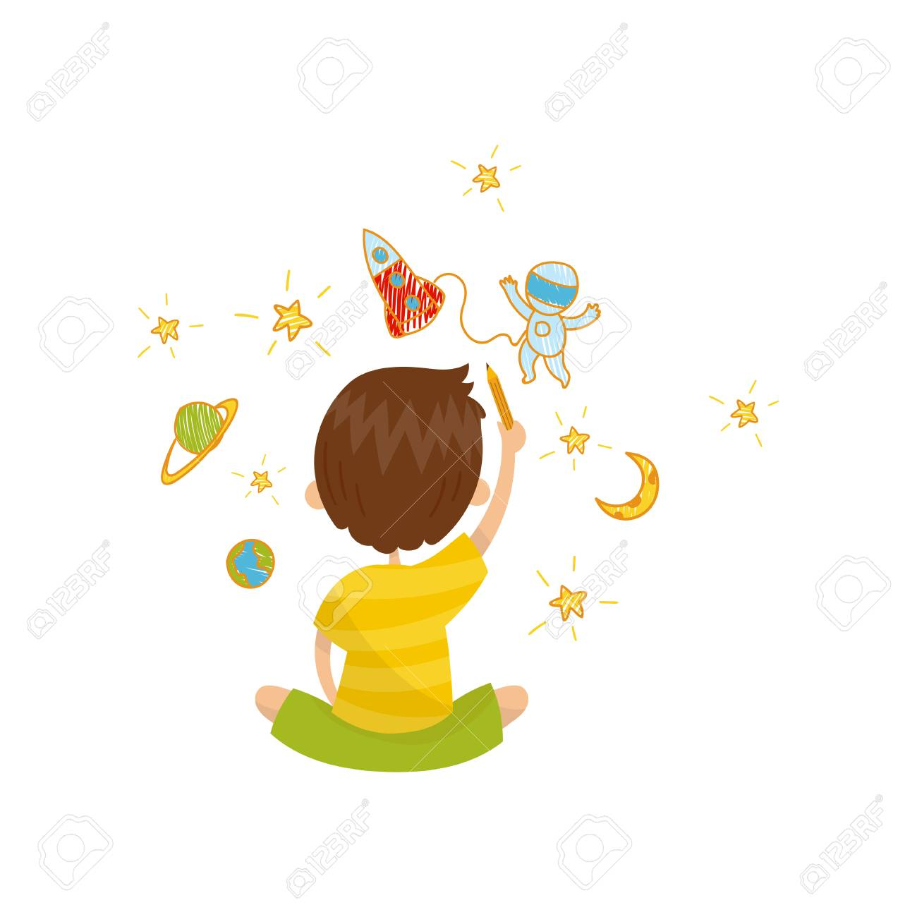 Cute little boy sitting on the floor and drawing with color pencils on the wall, back view, young artist, kids activity routine vector illustration. - 97888641
