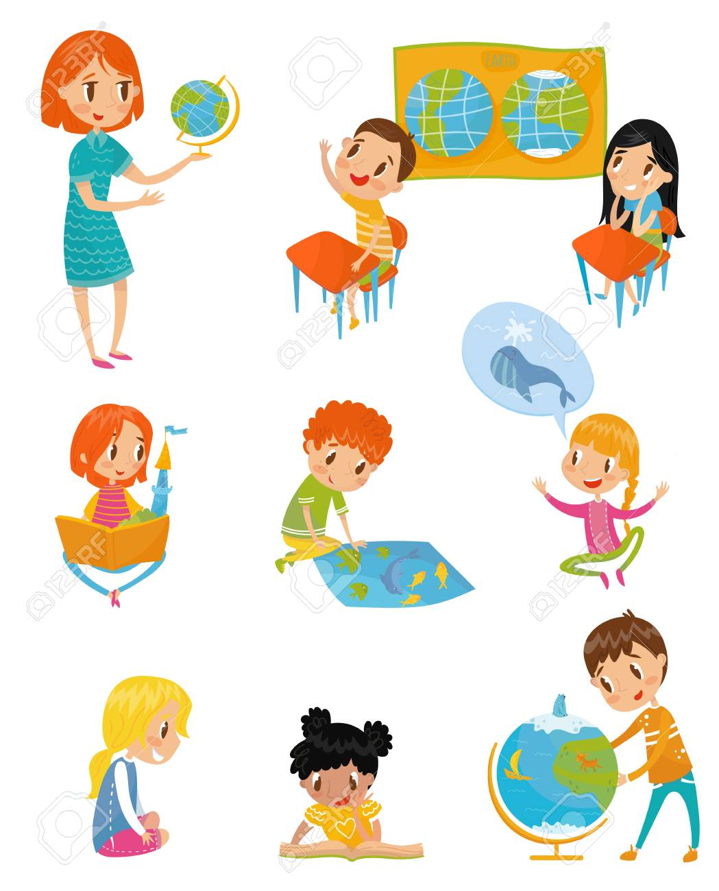 Kids at geography lesson set, preschool activities and early childhood education concept vector Illustrations on a white background - 97777300