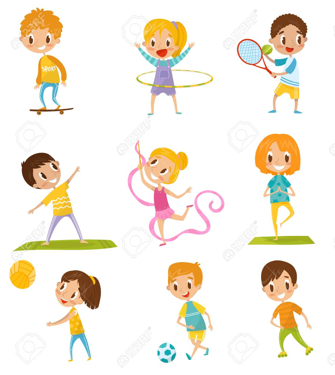 Kids doing different kinds of sports set. Vector Illustrations on a white background - 98125467