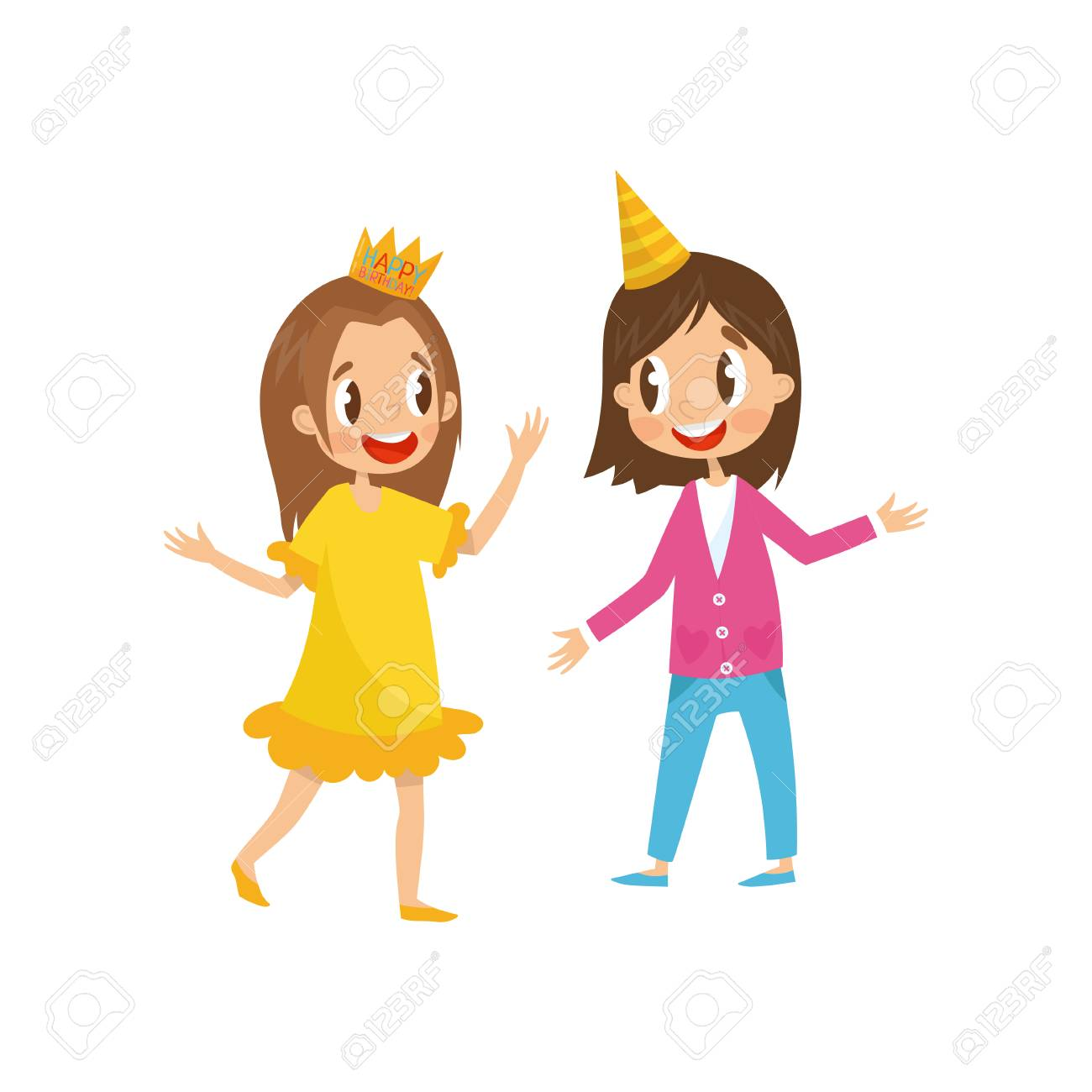 Two Cute Girls In Party Hats Having Fun At Birthday Party Cartoon Royalty Free Cliparts Vectors And Stock Illustration Image 99658063