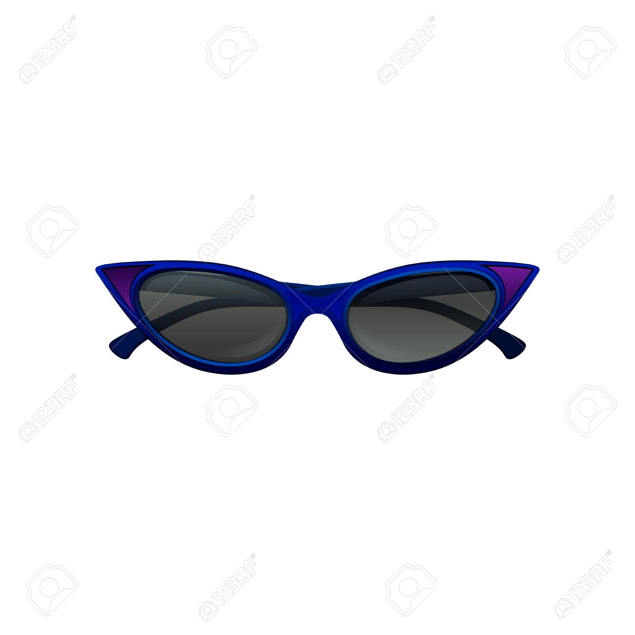 52ea81df4 Cartoon illustration of elegant cat eye sunglasses with blue frame and black  tinted lenses. Protective