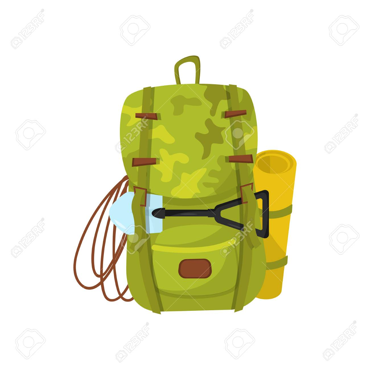 502ee7d5c8e3 Flat Vector Icon Of Big Camouflage Backpack With Small Shovel ...