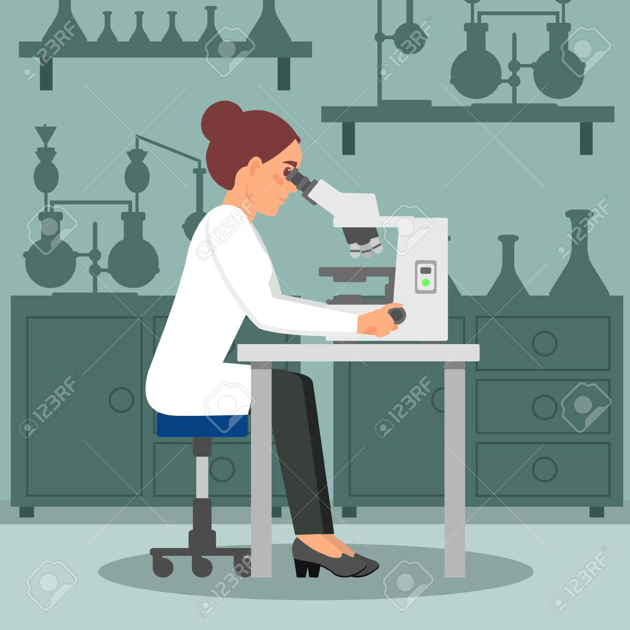 Woman scientist doing biology research using microscope. Female biologist at workplace. Lab equipment on background. Flat vector design - 103279026