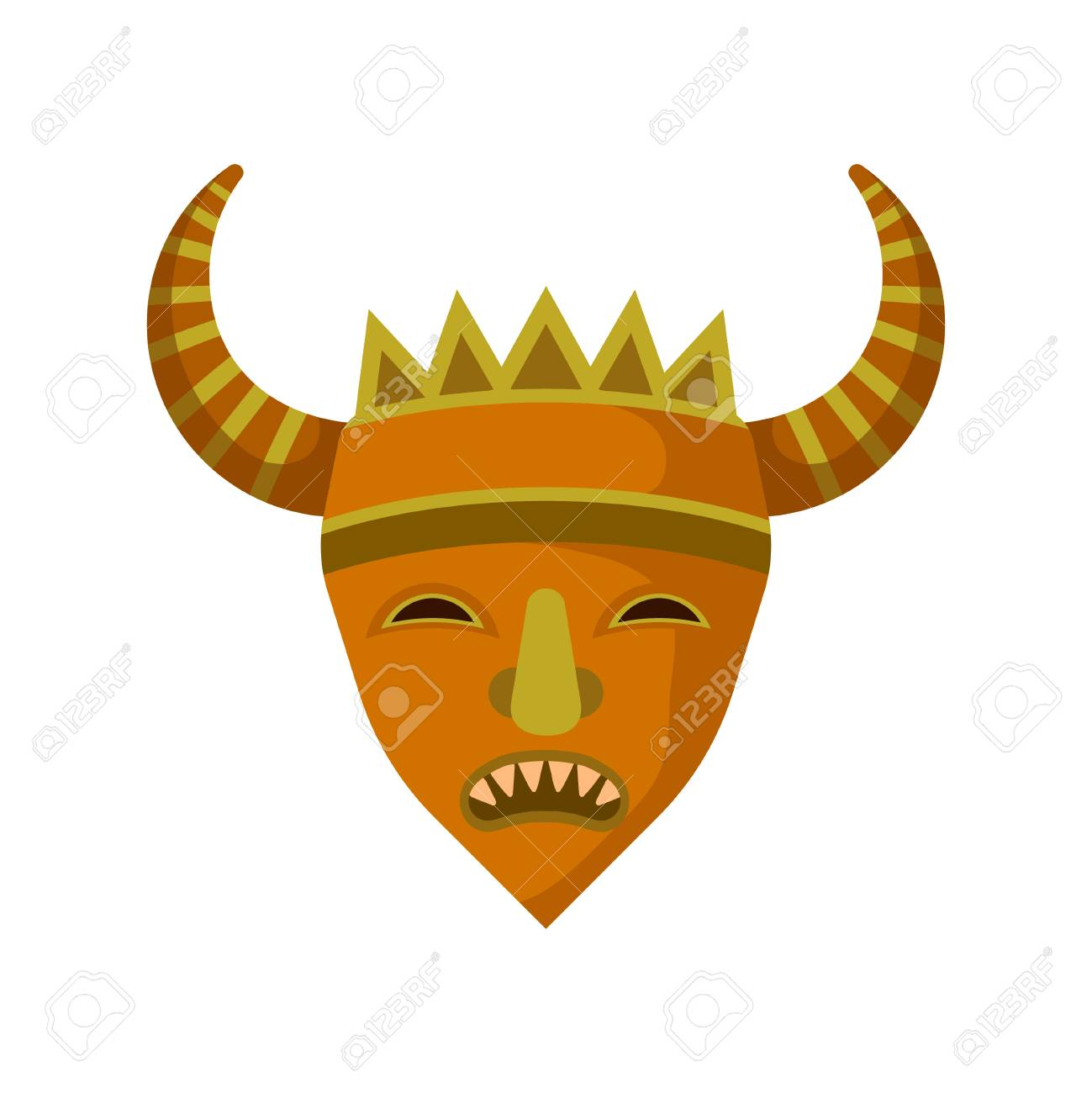 Wooden Mask With Sharp Teeth And Big Horns Ethnic Symbol Of