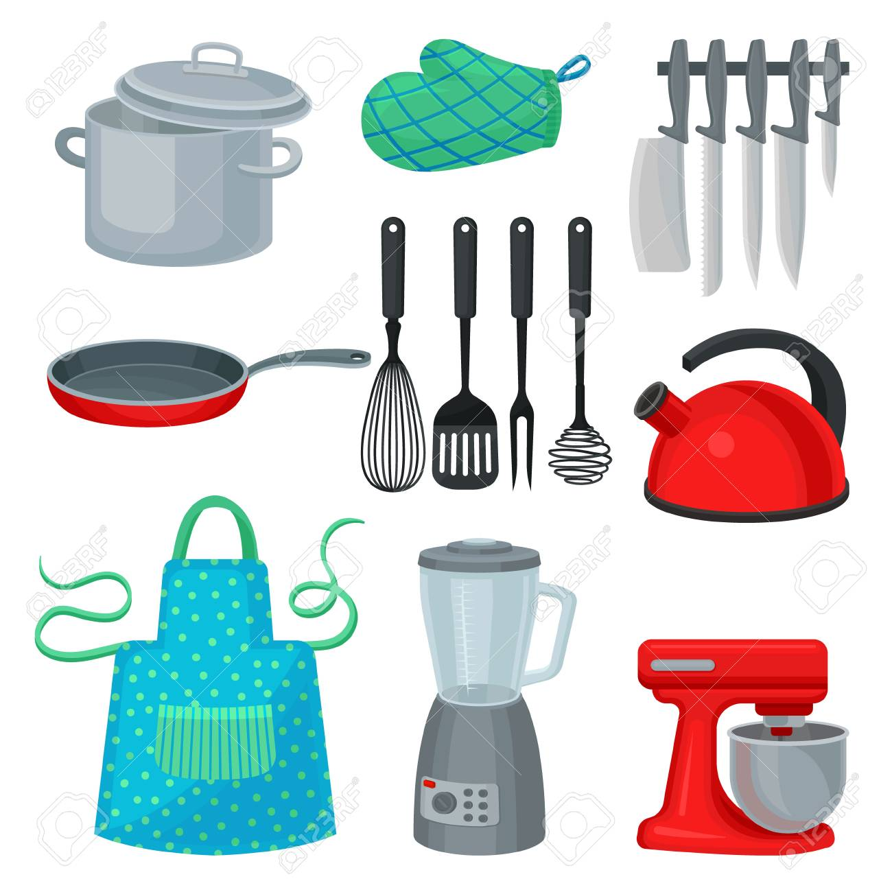 Collection of kitchenware, modern electric appliance and protective..