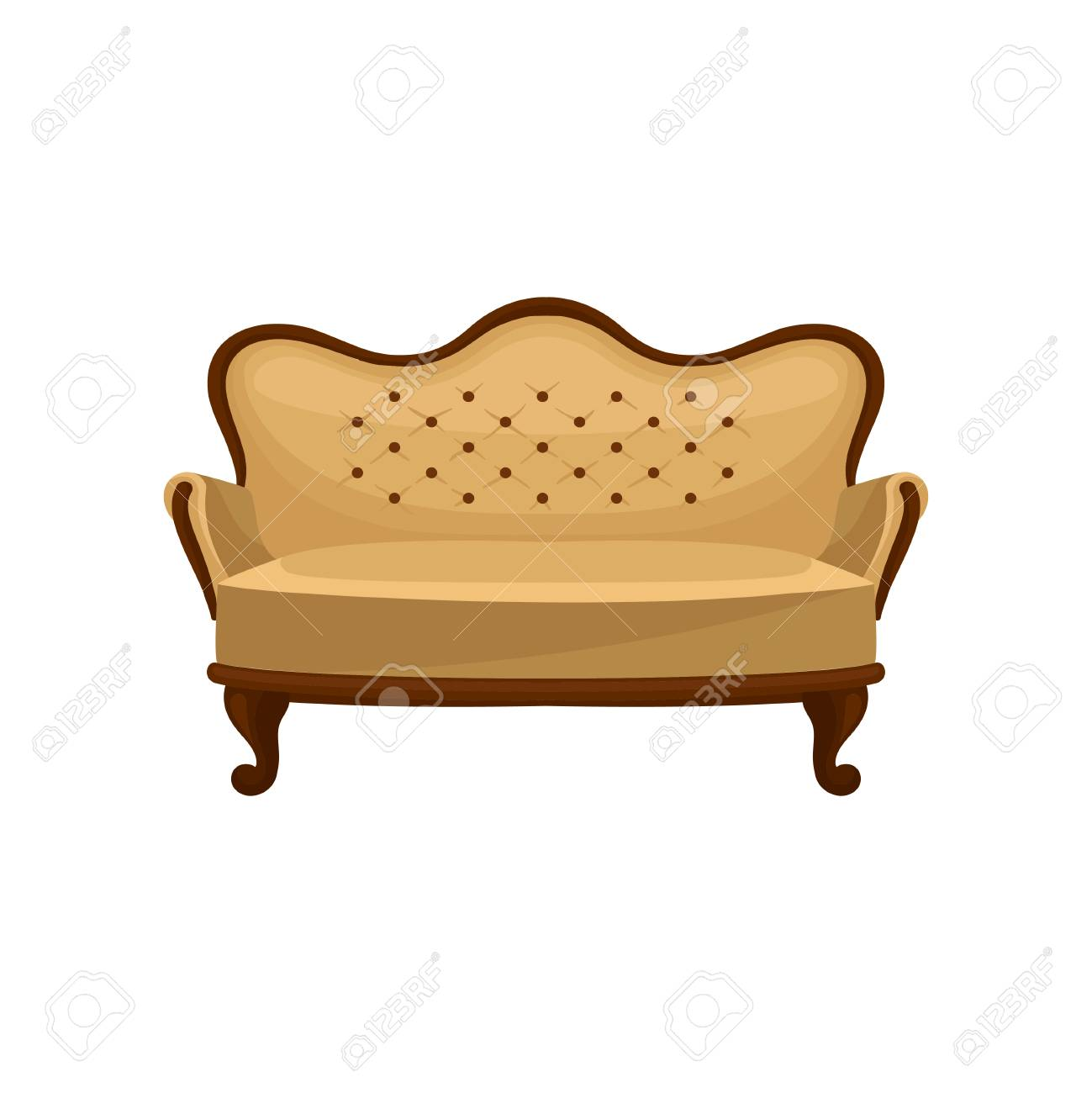 Cartoon Icon Of Classic Vintage Couch Wooden Sofa With Beige