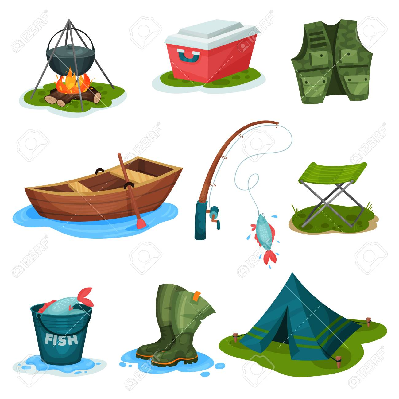 Fishing sport symbols set, outdoor activity equipment vector Illustrations isolated on a white background. - 105831855