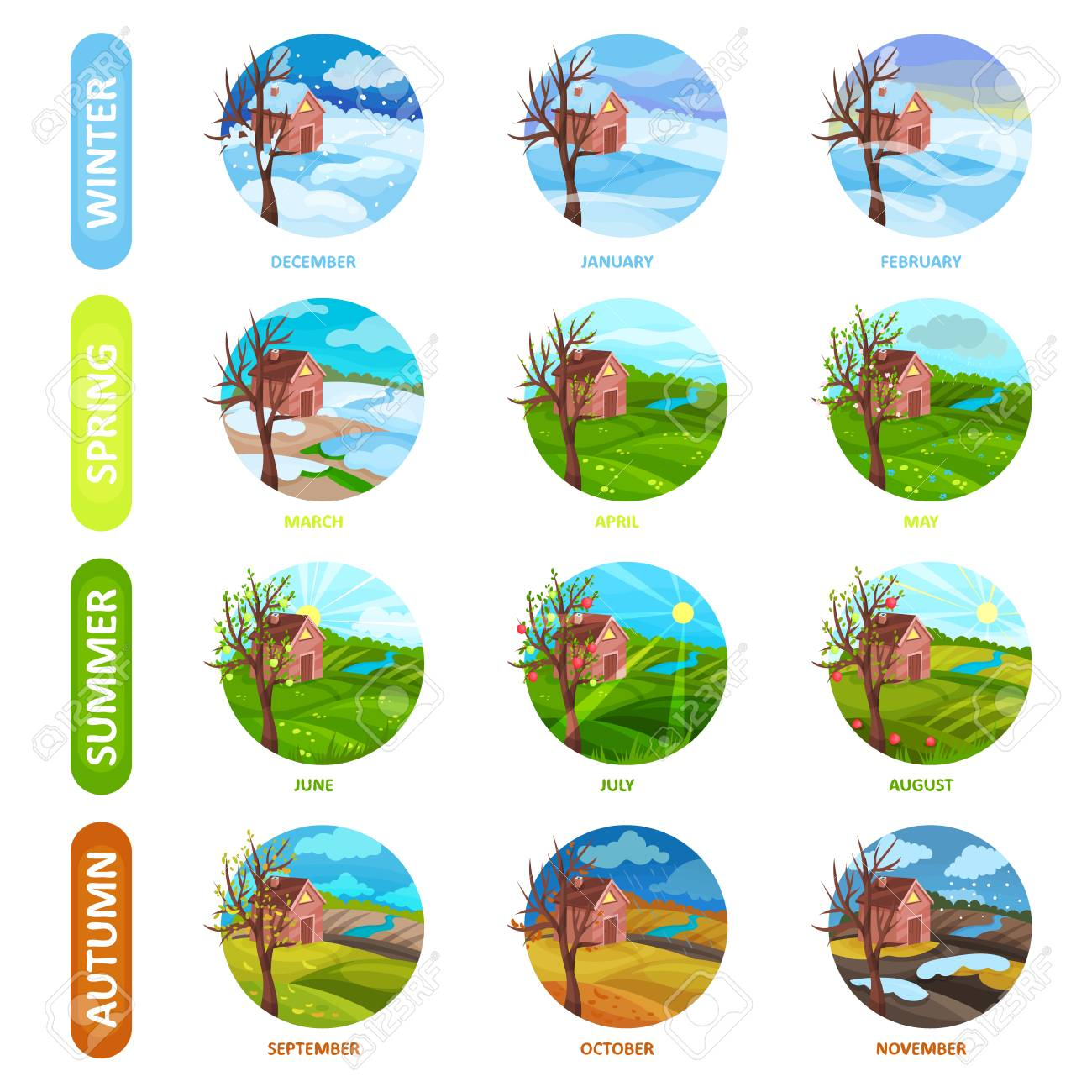 Set of 12 months of the year  Winter, spring, summer and autumn