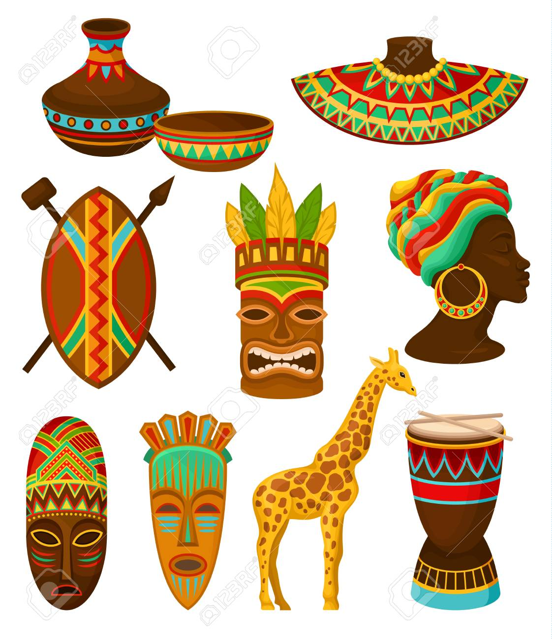 Collection of authentic symbols of Africa, crockery, weapon, mask, drum with traditional ethnic ornament vector Illustrations isolated on a white background. - 106736494
