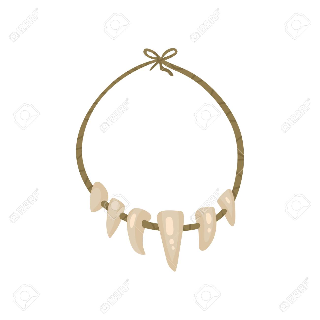 Necklace with Teeth, stone age symbol vector Illustration isolated on a white background. - 111634720