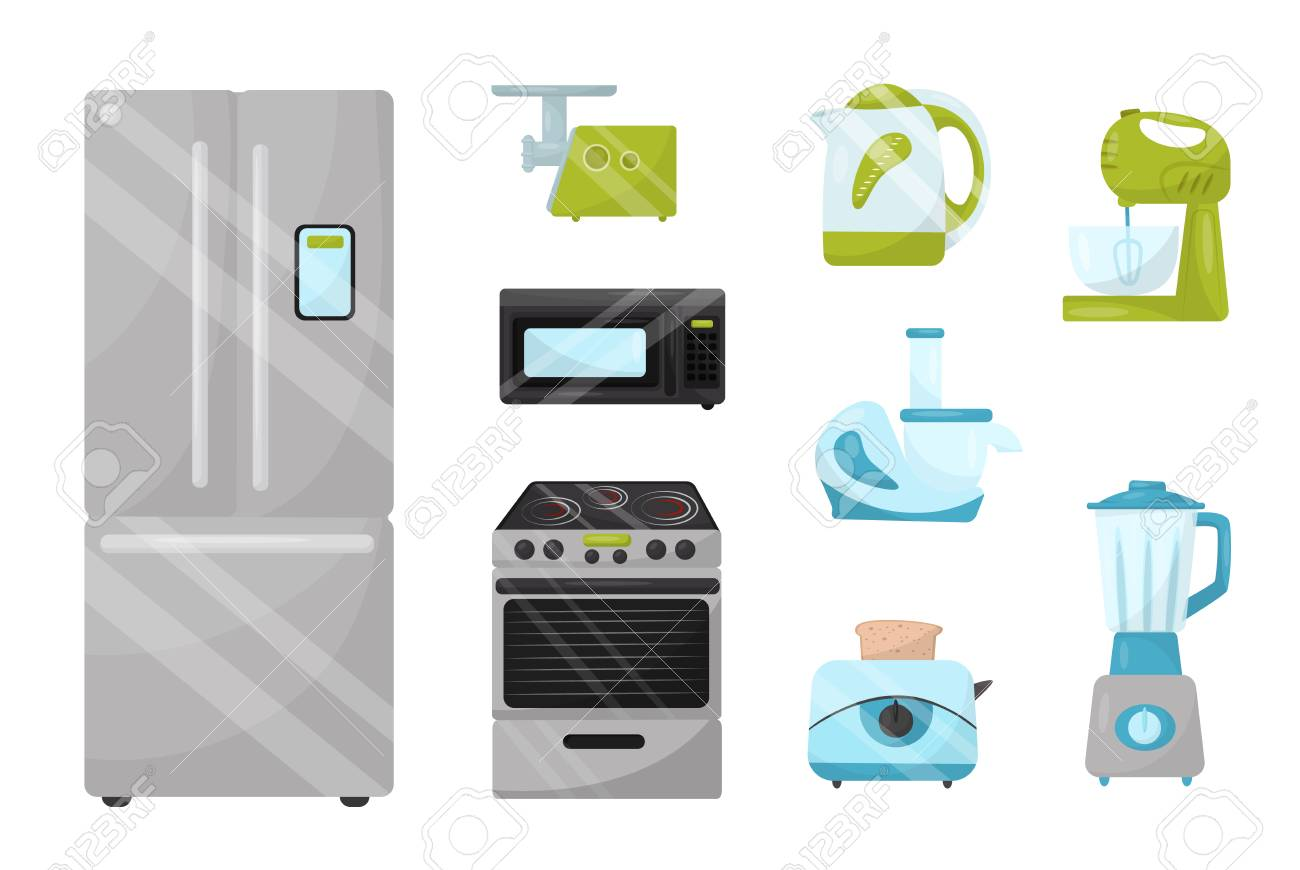 Set of kitchen electronic appliances  Household items  Modern