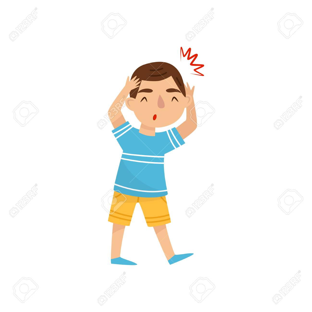 Little Boy Suffering From Headache Child With Pain In The Head Royalty Free Cliparts Vectors And Stock Illustration Image 110386864