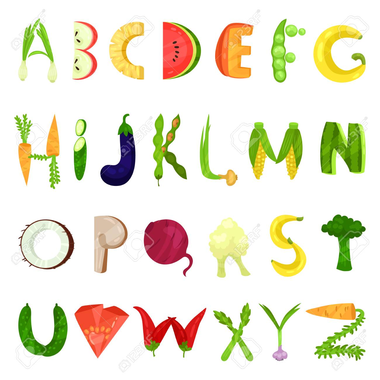 Veggie English alphabet letters made from fresh vegetables vector Illustration isolated on a white background. - 110013746