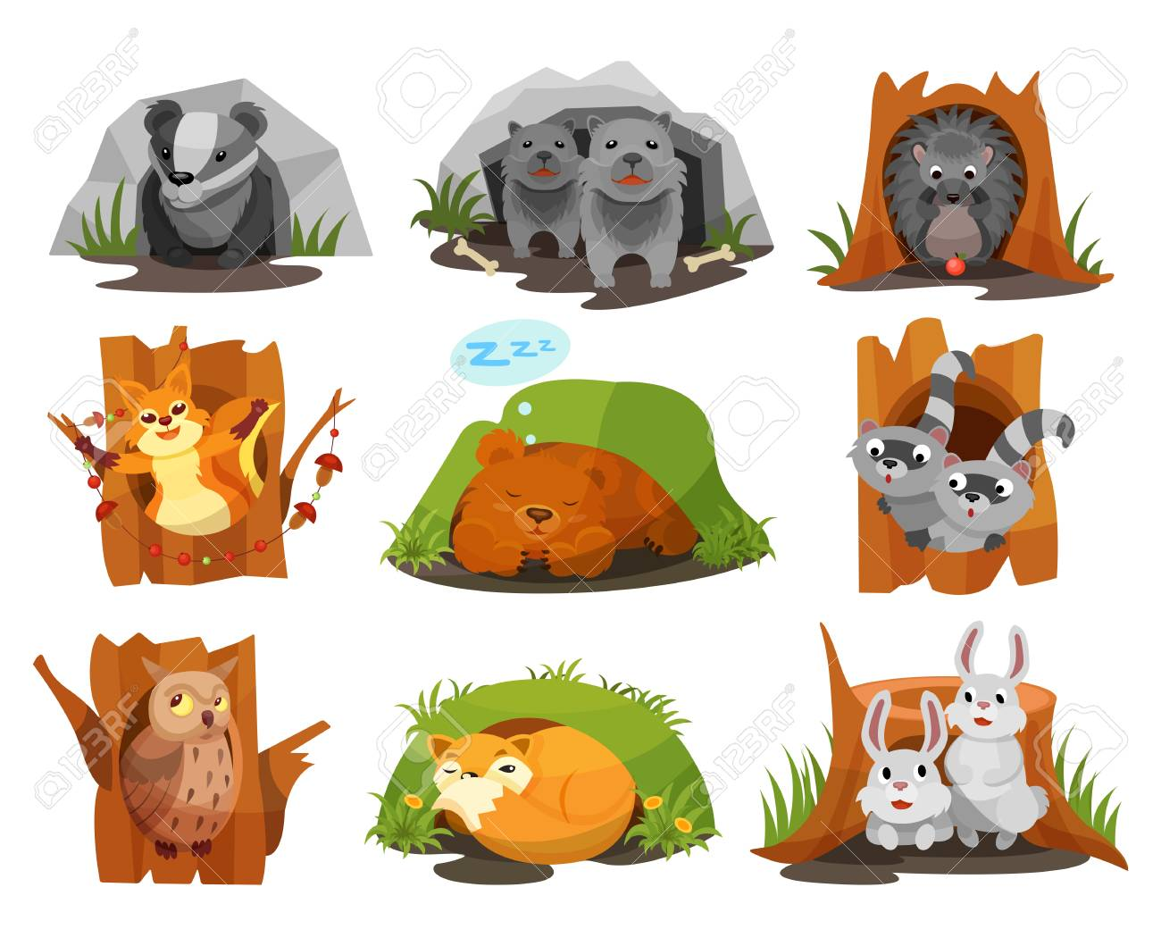 Cute animals sitting in burrows and hollows set, badger, wolves cubs, hedgehog, squirrel, bear cub, raccoon, owlet, fox, hares inside their homes vector Illustration isolated on a white background. - 109774317