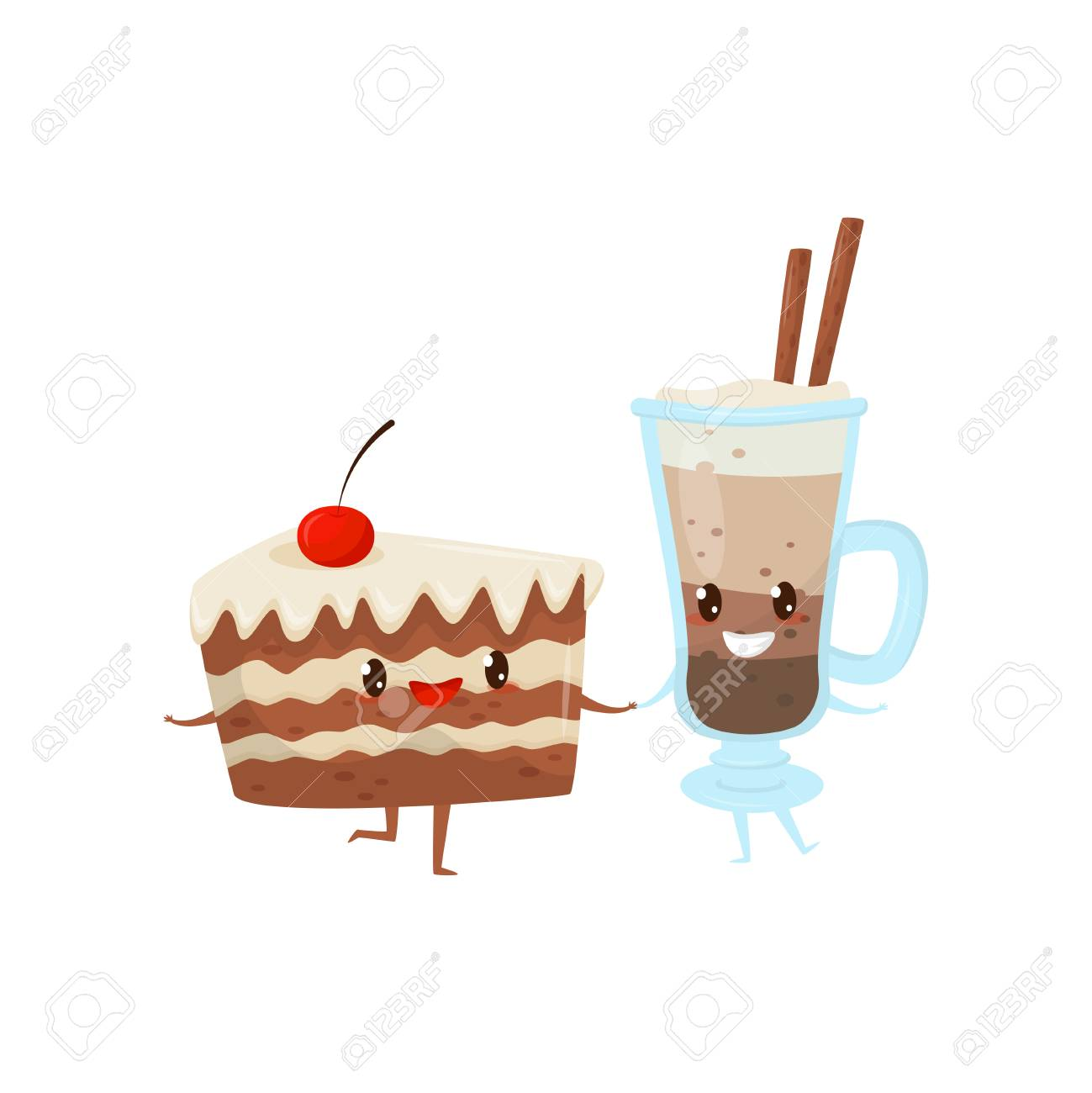 piece of cake and cocoa drink are friends forever cute funny food