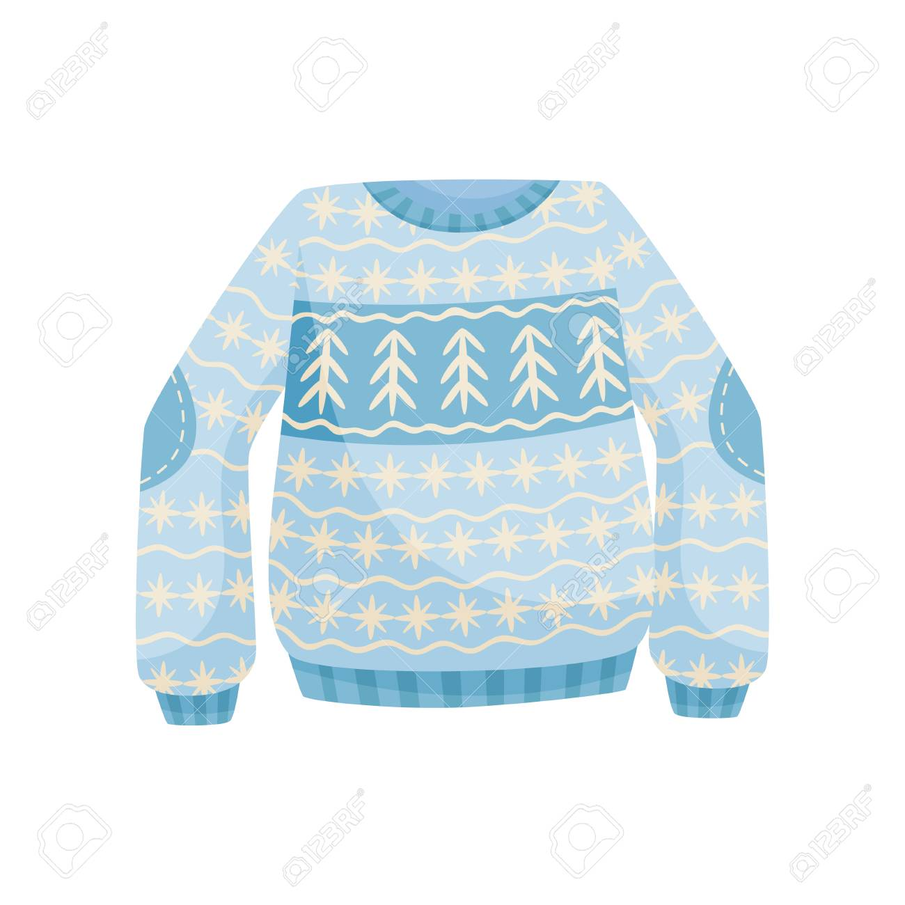 Blue And White Christmas Sweater.Stock Illustration