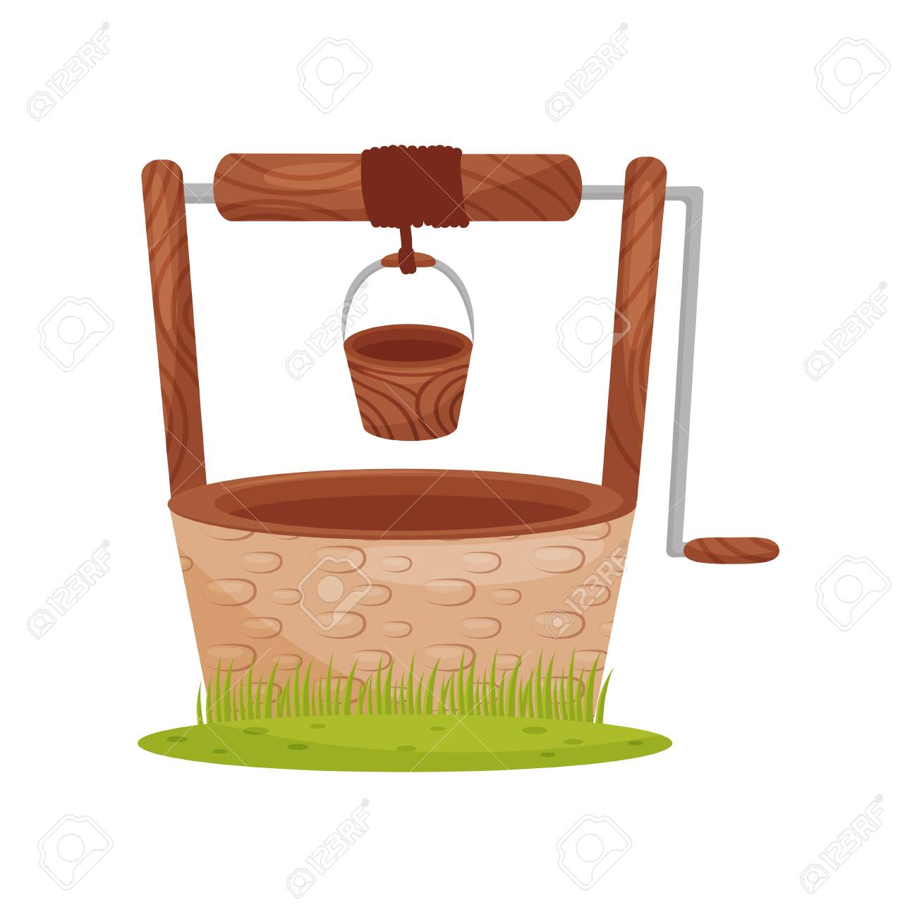 Old stone water well, wooden bucket hangs on rope. Element for rural landscape. Farm theme. Graphic design for children book. Colorful vector illustration in flat style isolated on white background. - 126349979