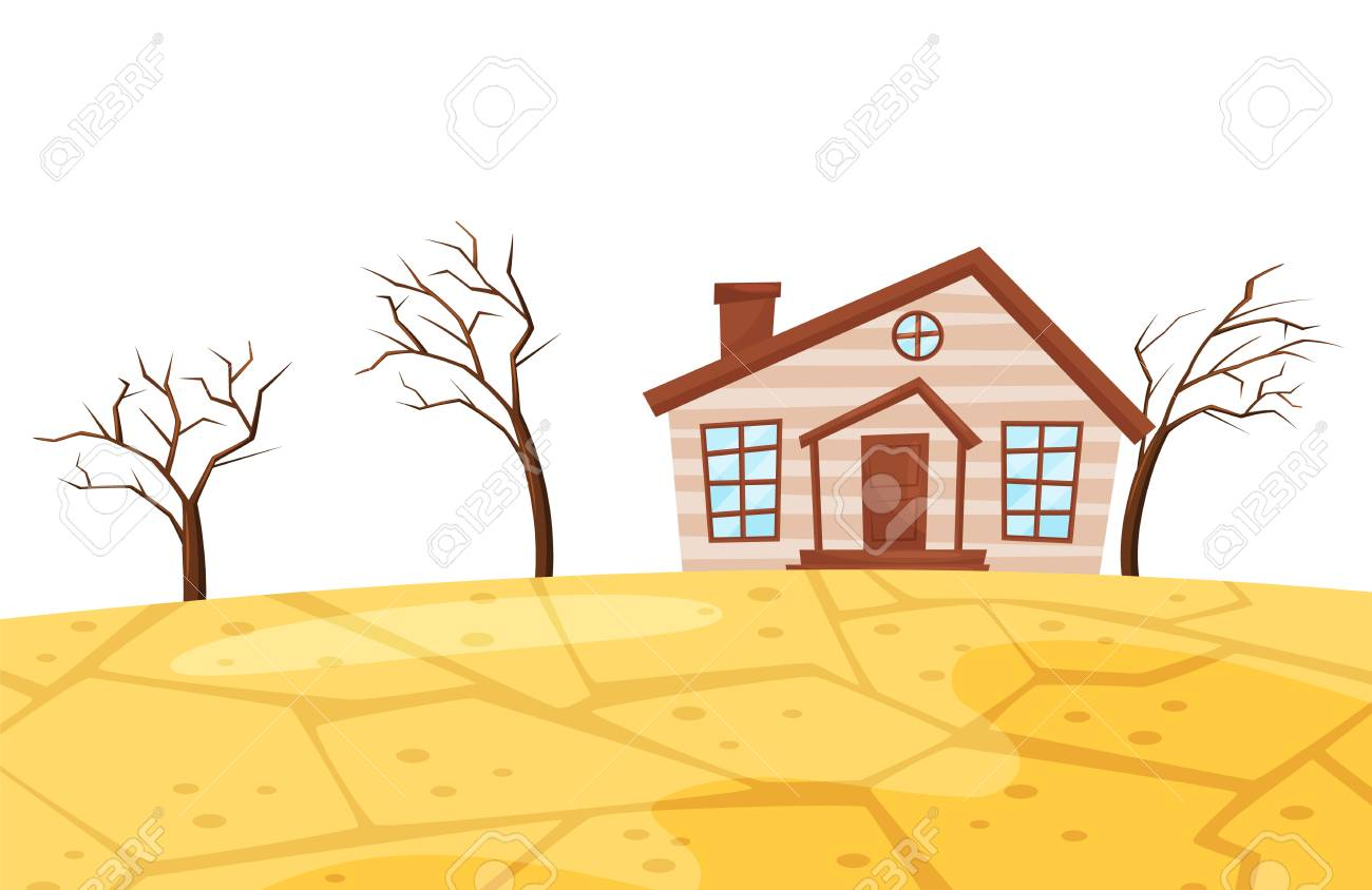 Cartoon Scene Of Drought Illustration Of Small Living House Royalty Free Cliparts Vectors And Stock Illustration Image 126335488