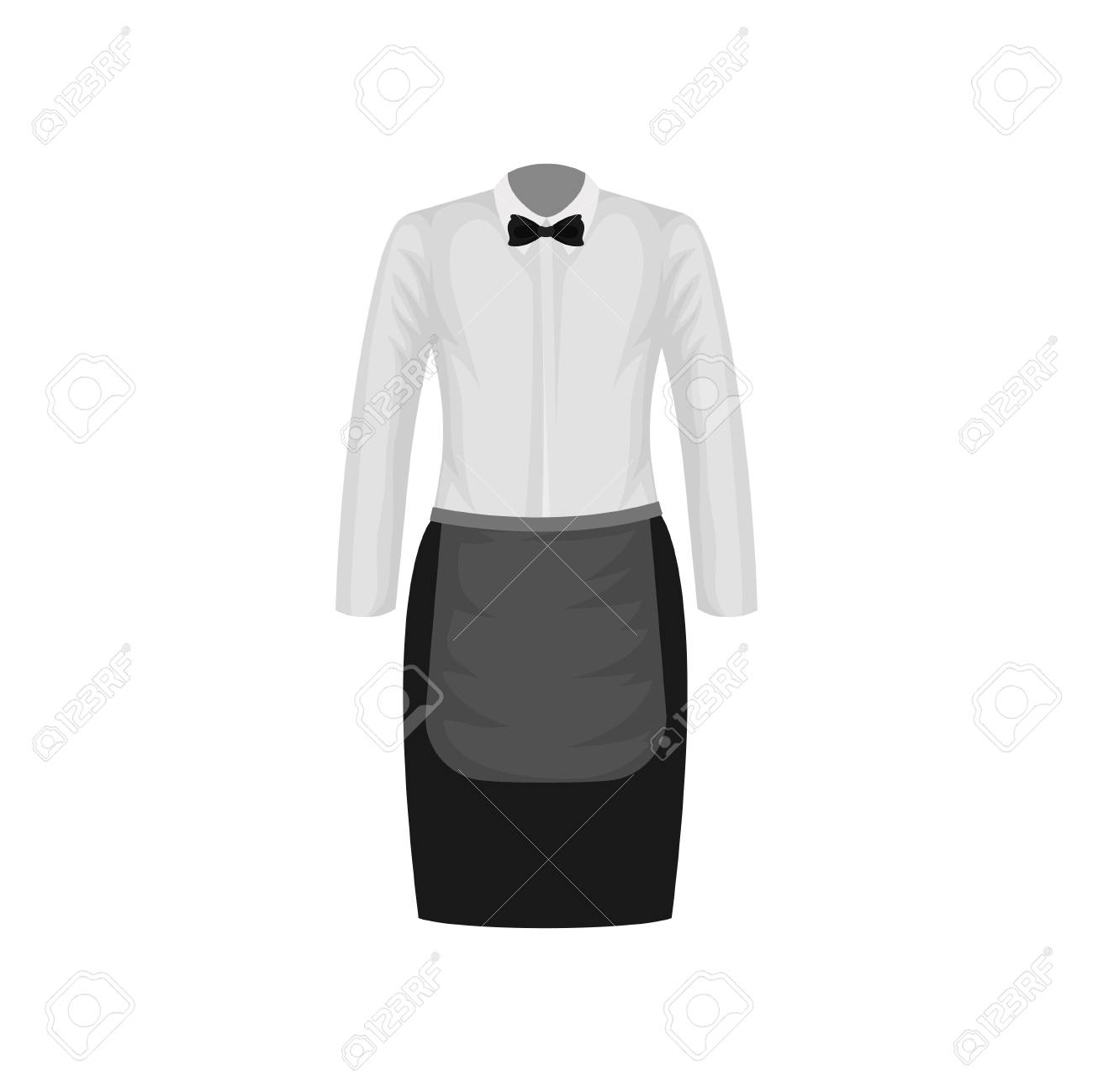 Waitress Uniform White Shirt With Bow Tie And Black Skirt With Royalty Free Cliparts Vectors And Stock Illustration Image 126237166