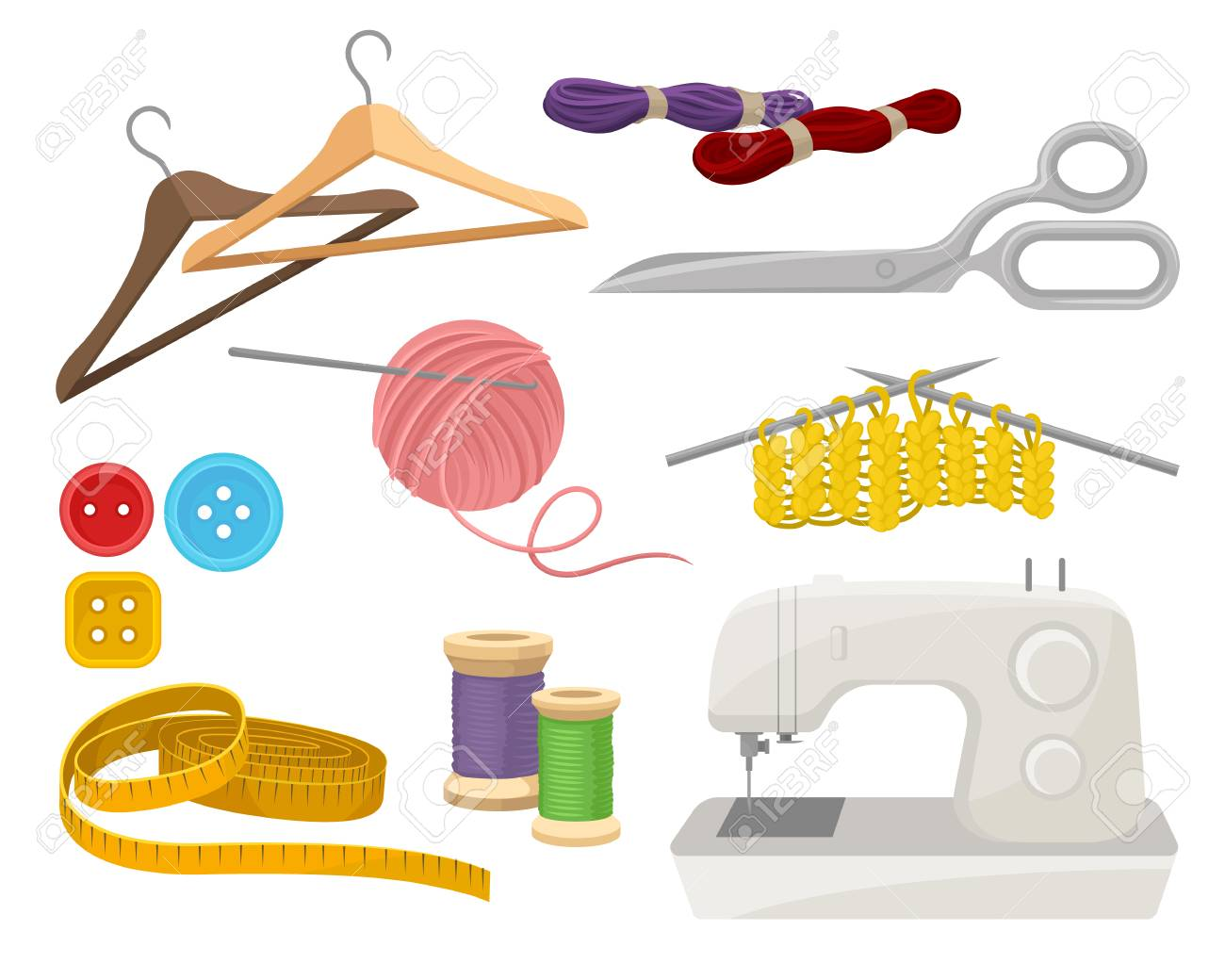 Collection of objects related to sewing and knitting theme. Dressmaking instruments and materials. Electric sewing machine. Colorful vector illustrations in flat style isolated on white background. - 126147517