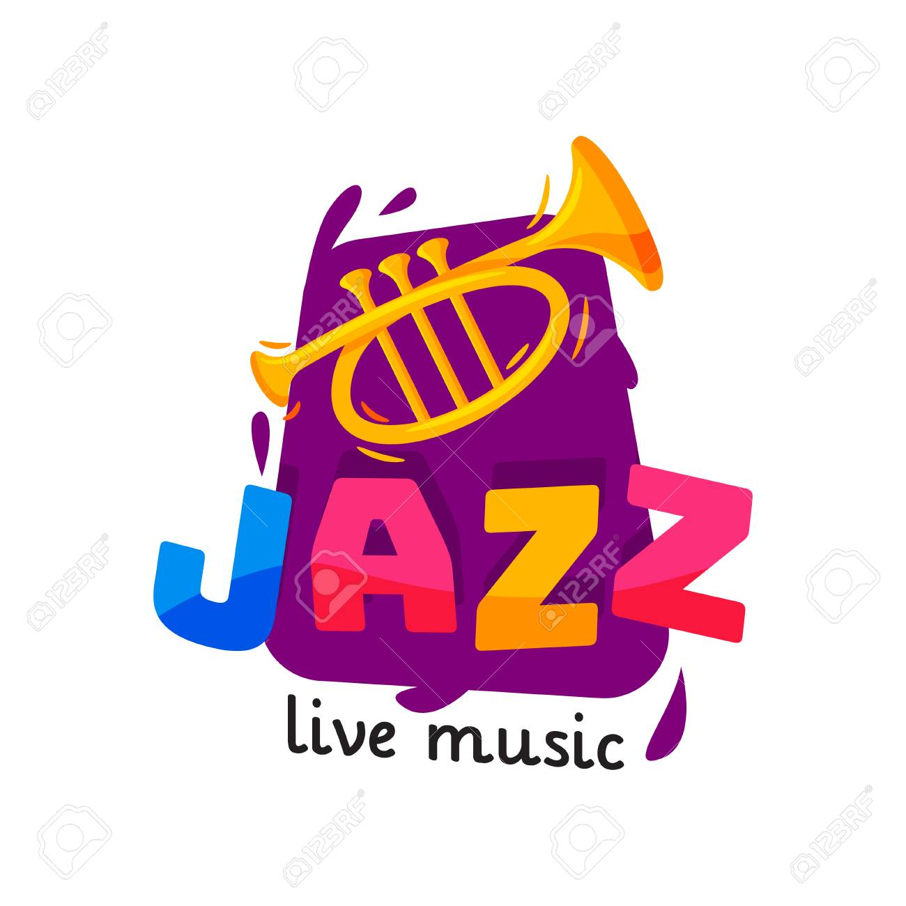Bright logo for jazz live concert. Original music badge with golden trumpet and colorful text. Flat vector design - 118483124