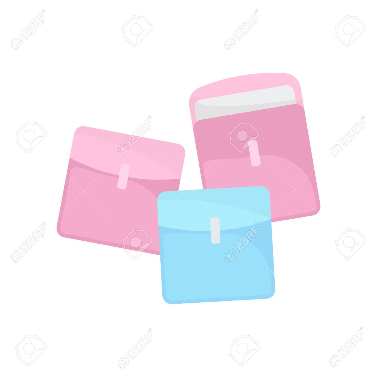 Sanitary Pads In Individual Packaging On White Background Modern Royalty Free Cliparts Vectors And Stock Illustration Image 124083886