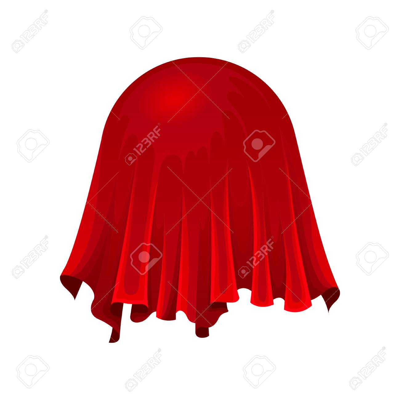 Ball or globe under red silk cloth on white background. Secret gift under satin fabric. Magic and mystery concept. Vector flat illustration. - 123839404