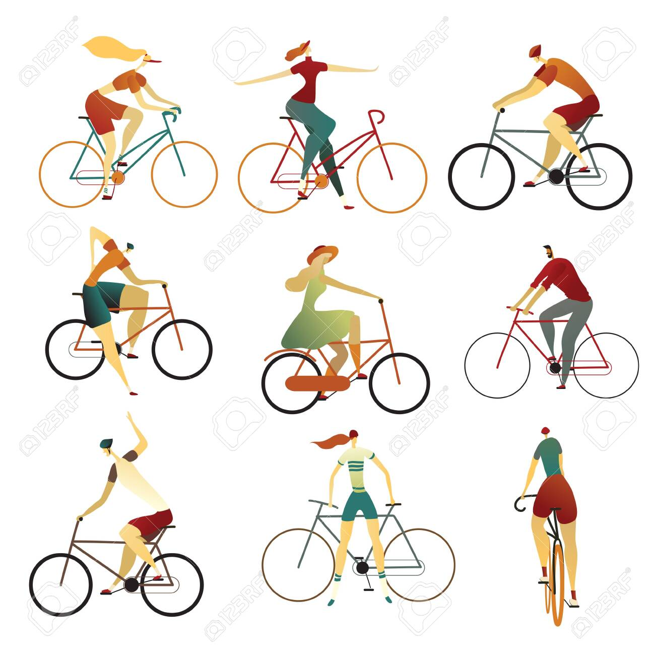 Collection of people riding bicycles of various types - city, bmx, hybrid, cruiser, single speed, fixed gear.. Set of cartoon men and women on bikes. Colorful vector illustration on a white background. - 123511278