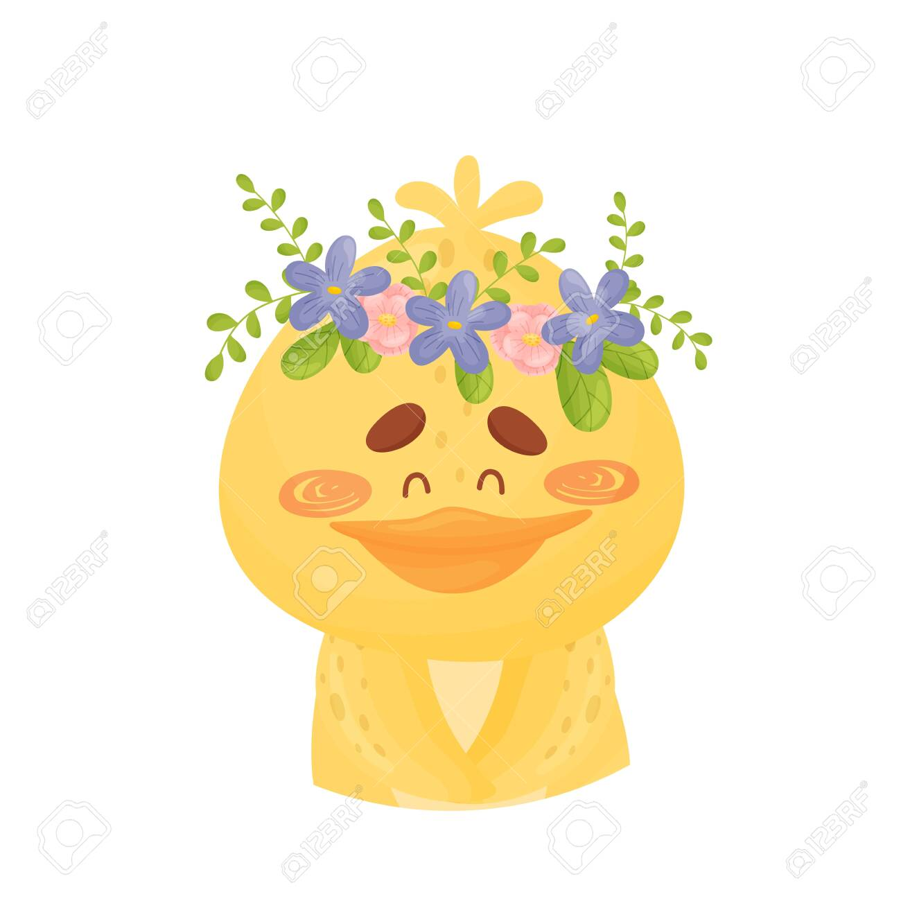 Yellow duckling with a wreath of flowers on her head. Vector illustration on a white background. - 130070654