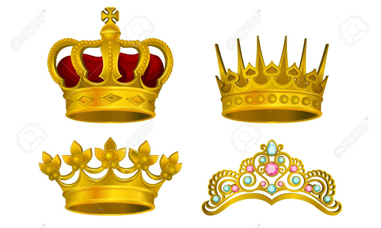 Royal Golden King Jewelry Vector Illustrated Collection. Majestic Manarchy Symbol Set Isolated On White Background - 131868886