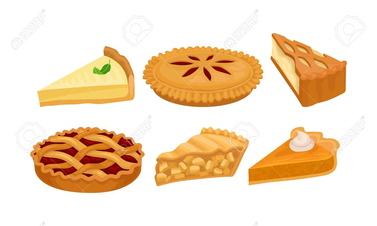Homemade Cartoon Pies And Cakes With Fruits And Cream Vector Royalty Free Cliparts Vectors And Stock Illustration Image 134228420