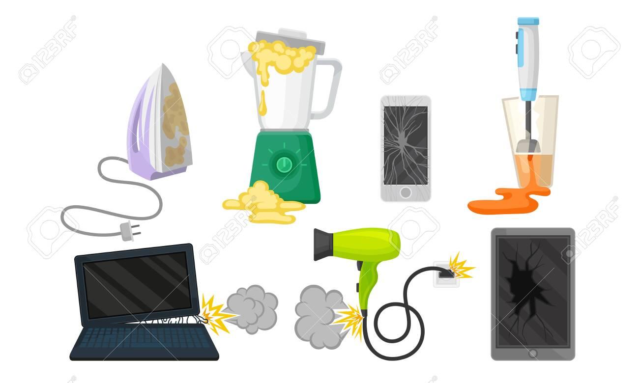 Set of broken household appliances. Vector illustration on a white background. - 134228819