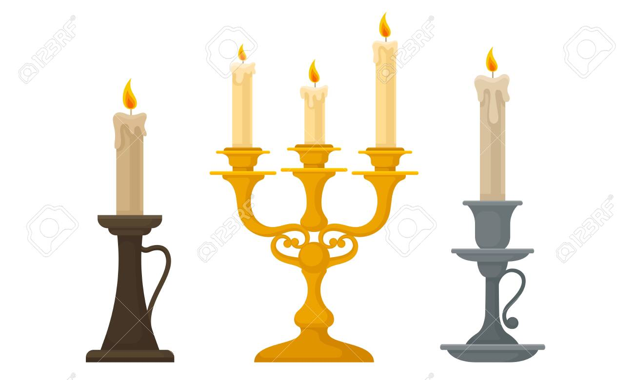 Candles In Candlesticks Vector Set Vintage Candle Holders And Royalty Free Cliparts Vectors And Stock Illustration Image 135857216