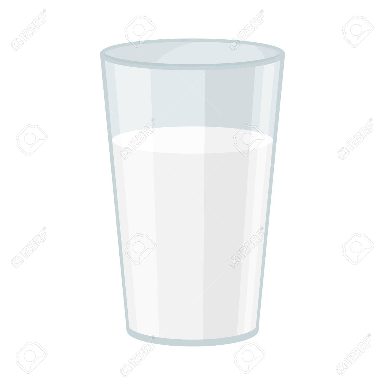 Almond Full Glass of Milk Vector Illustration. Tasty and Nutritious Drink Concept - 135462685