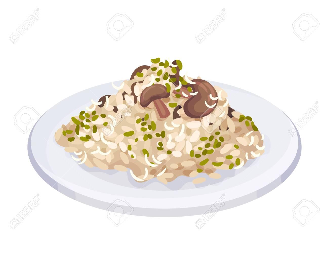 Mushroom Risotto, Traditional Italian Cuisine Food Dish Vector Illustration - 137061059