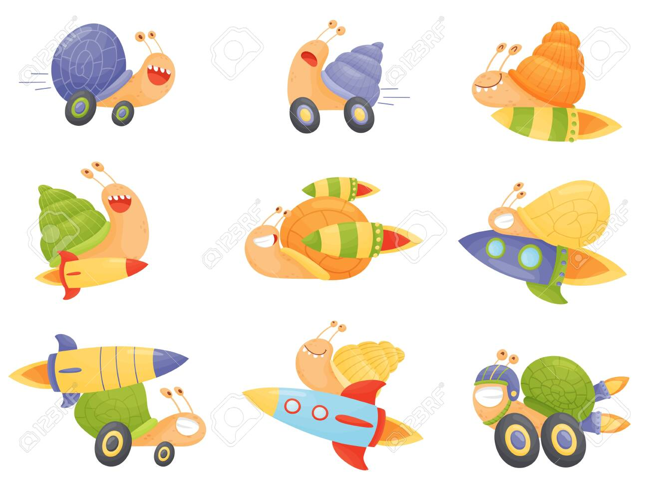 Fast Snails Vector Set. Funny Cartoon Mollusk Characters with Turbo Rocket Boosters. - 137239878