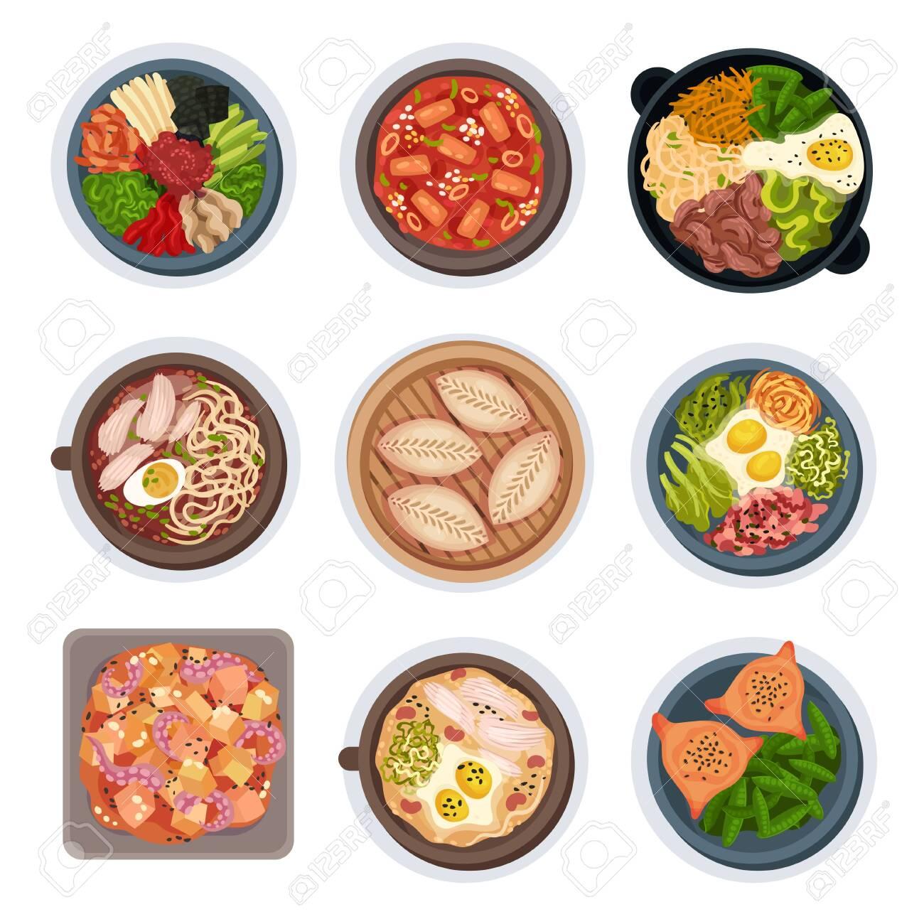 Korean Food Layouts Top View Vector Illustrations Set - 139410260