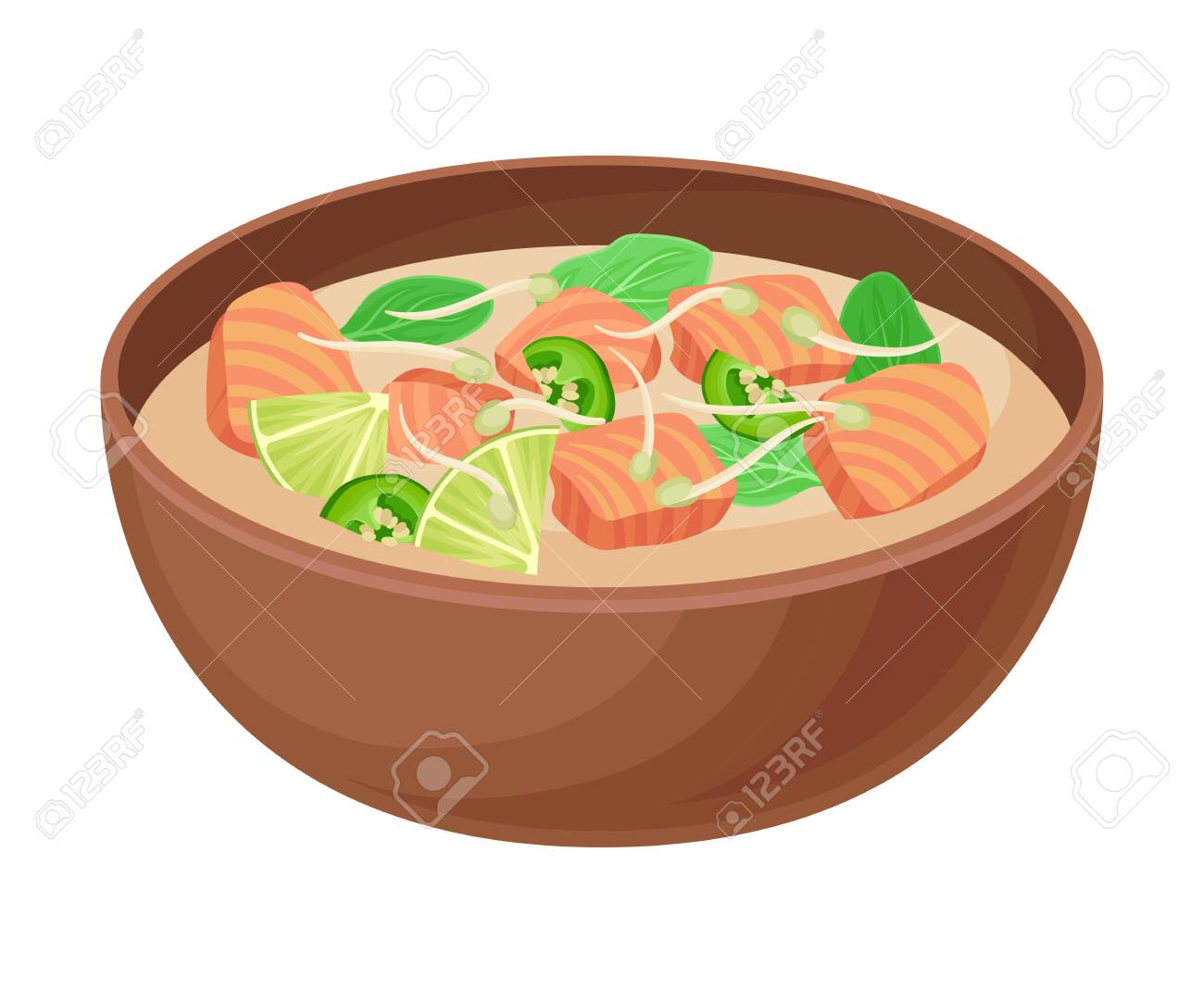 Appetizing Thai Thick Soup With Salmon Slabs And Greenery Served Royalty Free Cliparts Vectors And Stock Illustration Image 139575900