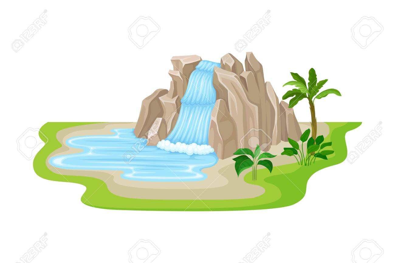 Tropical Waterfall with Cliffy Bounds and Exotic Plants Growing Around Vector Illustration. Falling Water Stream Concept - 140711011