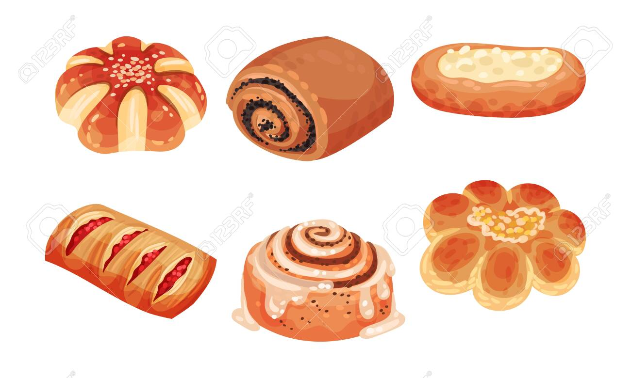 Flour Confectionery or Pastry with Sweet Wheat Bun and Baked Roll with Jam and Curd Vector Set - 147885705