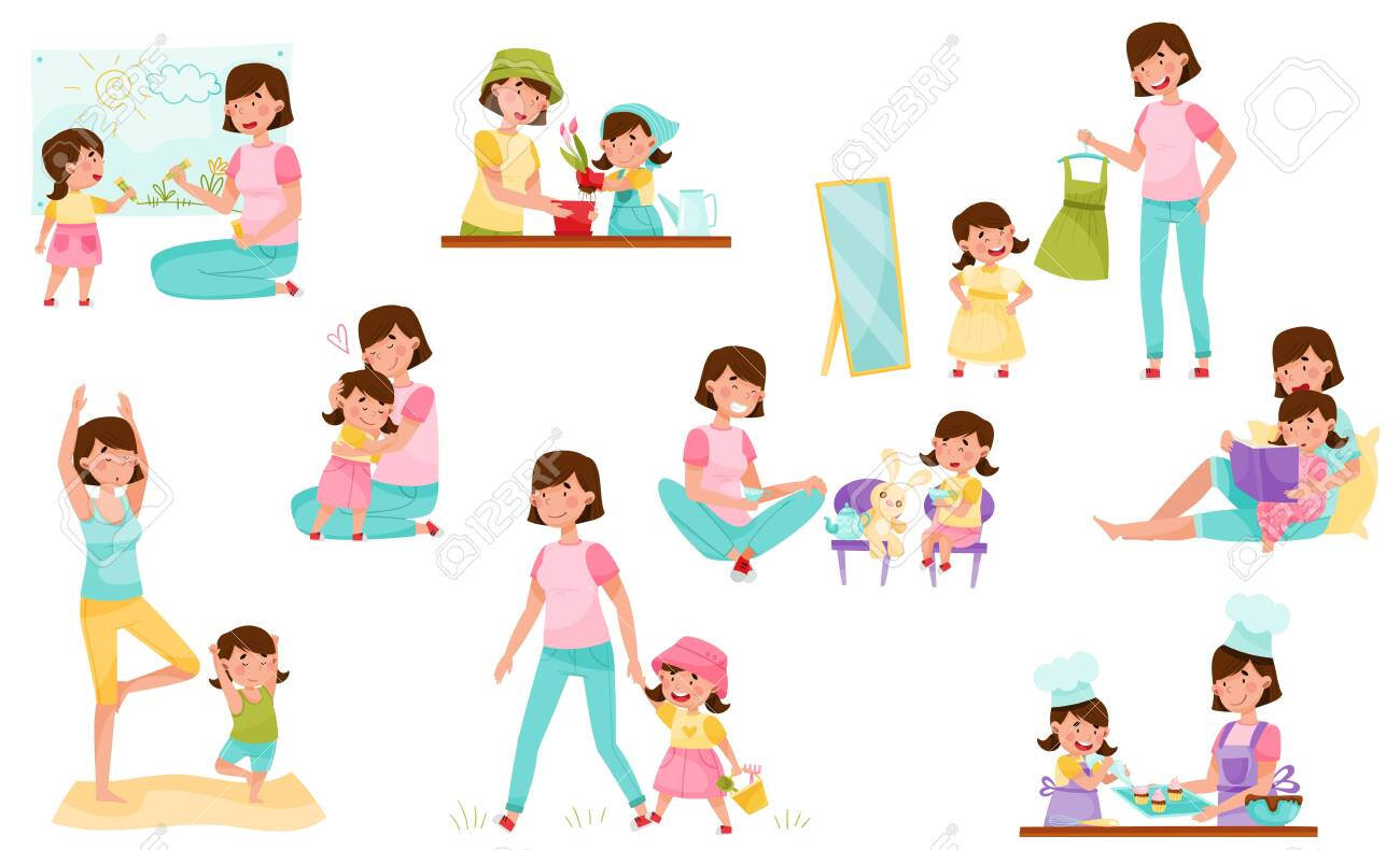 Mom and Daughter Doing Yoga, Baking, Reading Book and Walking Vector Illustration Set - 152799189