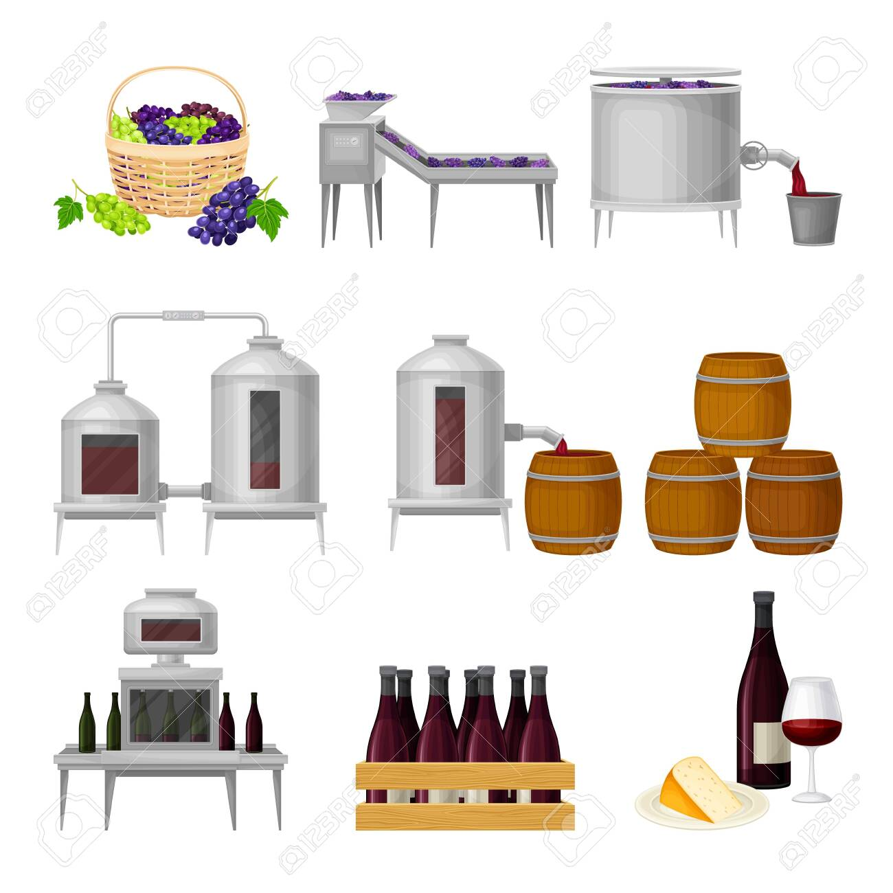 Grape Wine Production with Alcoholic Fermentation and Pouring in Bottles Process Vector Set - 153891001
